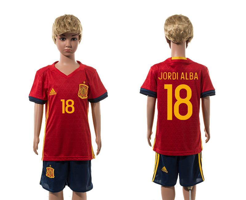 European Cup 2016 Spain home 18 Jordi Alba red kids soccer jerseys