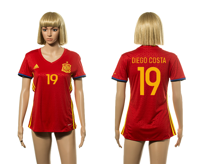 European Cup 2016 Spain home 19 Diego Costa red Women soccer jerseys