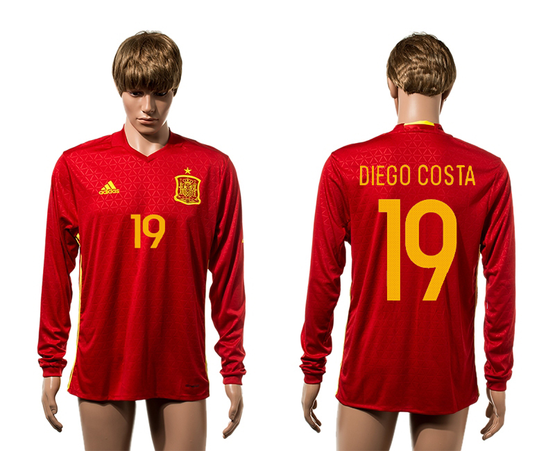 European Cup 2016 Spain home 19 Diego Costa red long sleeve AAA+ soccer jerseys