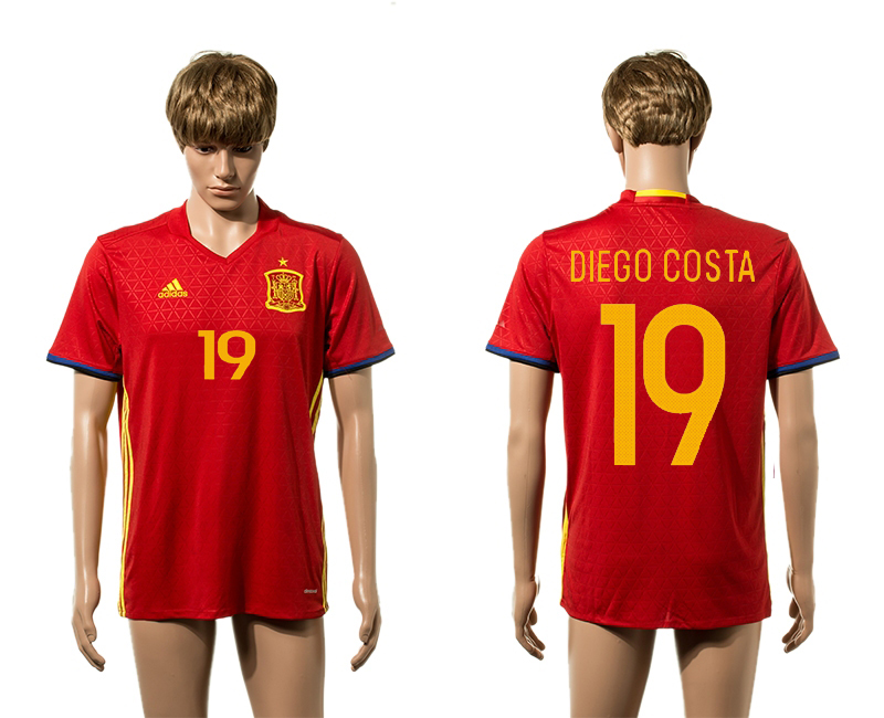 European Cup 2016 Spain home 19 Duego Costa red AAA+ soccer jerseys
