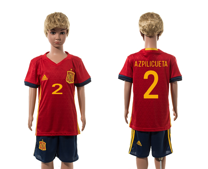 European Cup 2016 Spain home 2 Azpilicueta red kids soccer jerseys