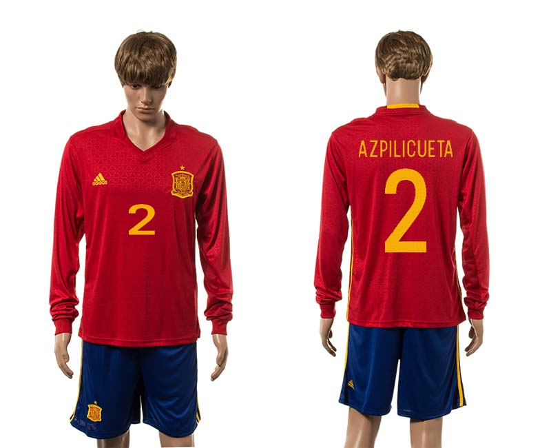 European Cup 2016 Spain home 2 Azpiliueta red long sleeve soccer jerseys