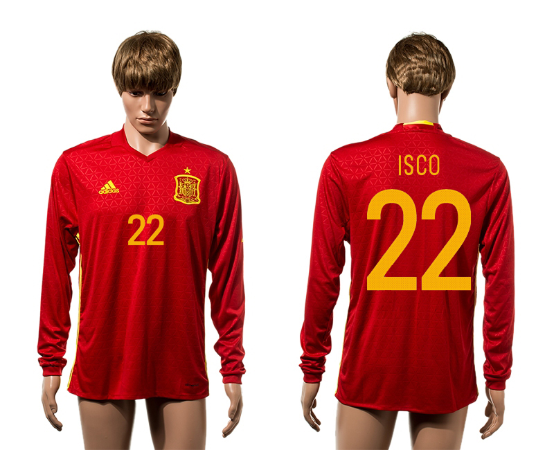 European Cup 2016 Spain home 22 Isco red long sleeve AAA+ soccer jerseys