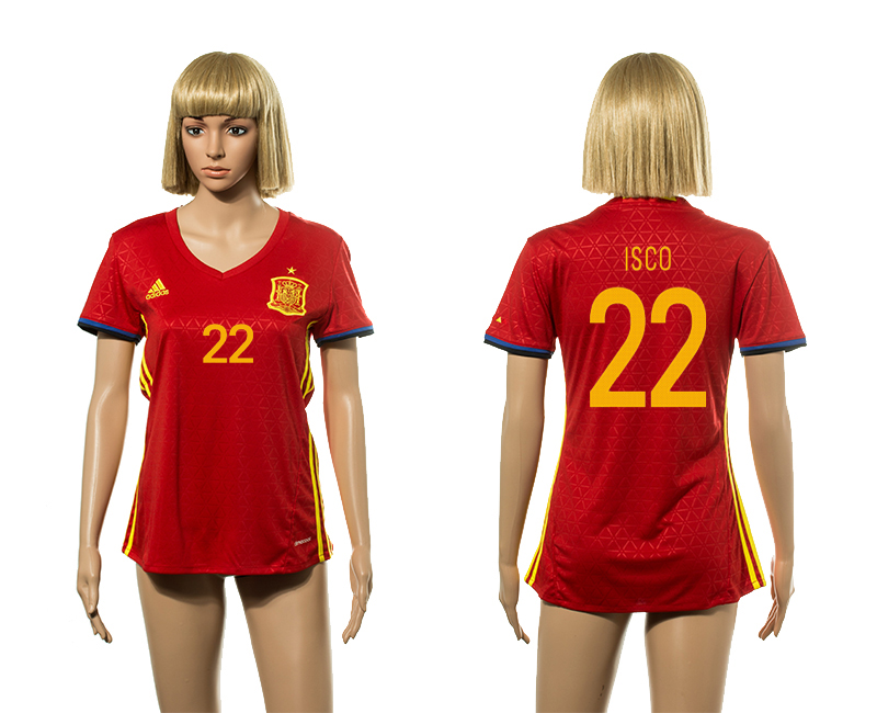 European Cup 2016 Spain home 22 Isco red Women soccer jerseys