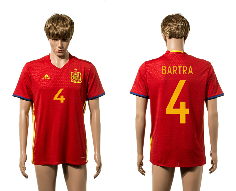 European Cup 2016 Spain home 4 Bartra red AAA+ soccer jerseys