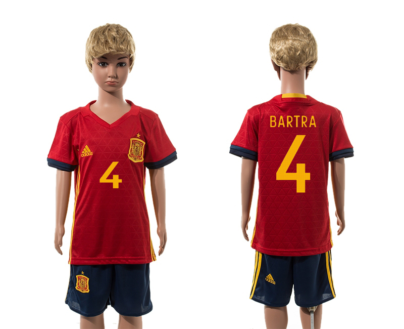 European Cup 2016 Spain home 4 Bartra red kids soccer jerseys