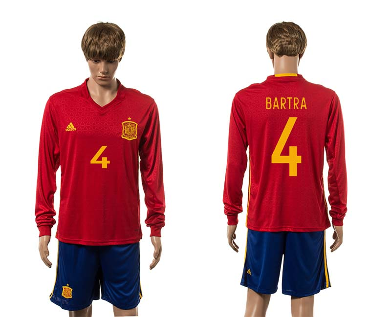 European Cup 2016 Spain home 4 Bartra red long sleeve soccer jerseys