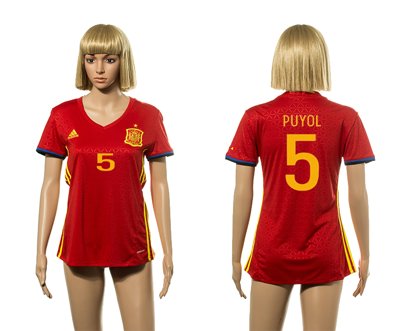 European Cup 2016 Spain home 5 Puyol red Women soccer jerseys