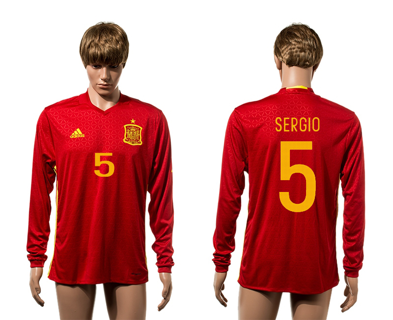 European Cup 2016 Spain home 5 Sergio red long sleeve AAA+ soccer jerseys