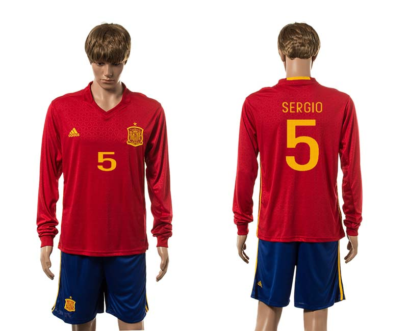 European Cup 2016 Spain home 5 Sergio red long sleeve soccer jerseys