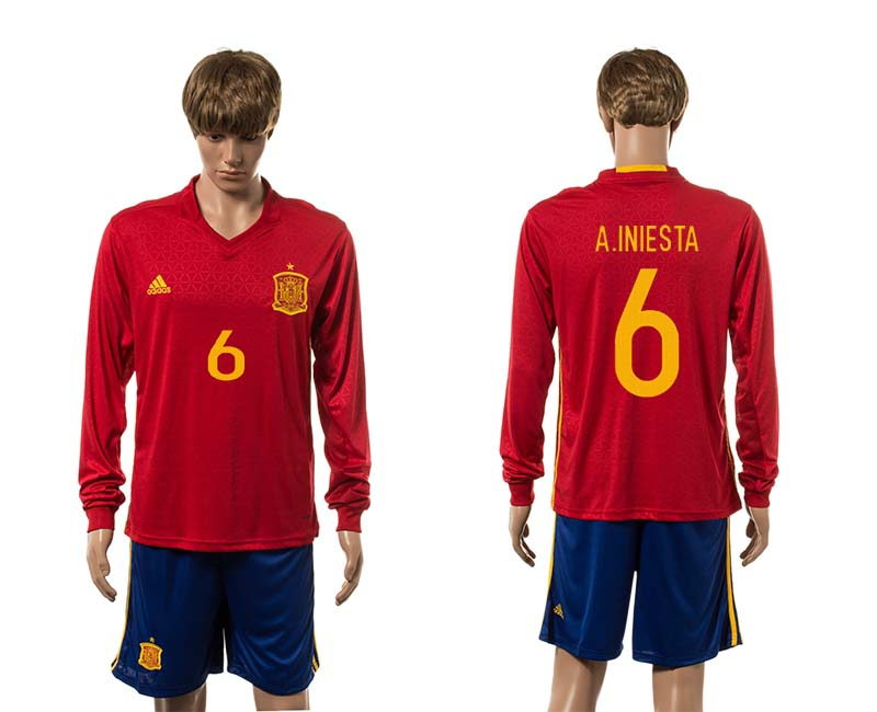 European Cup 2016 Spain home 6 A.Iniesta red long sleeve soccer jerseys