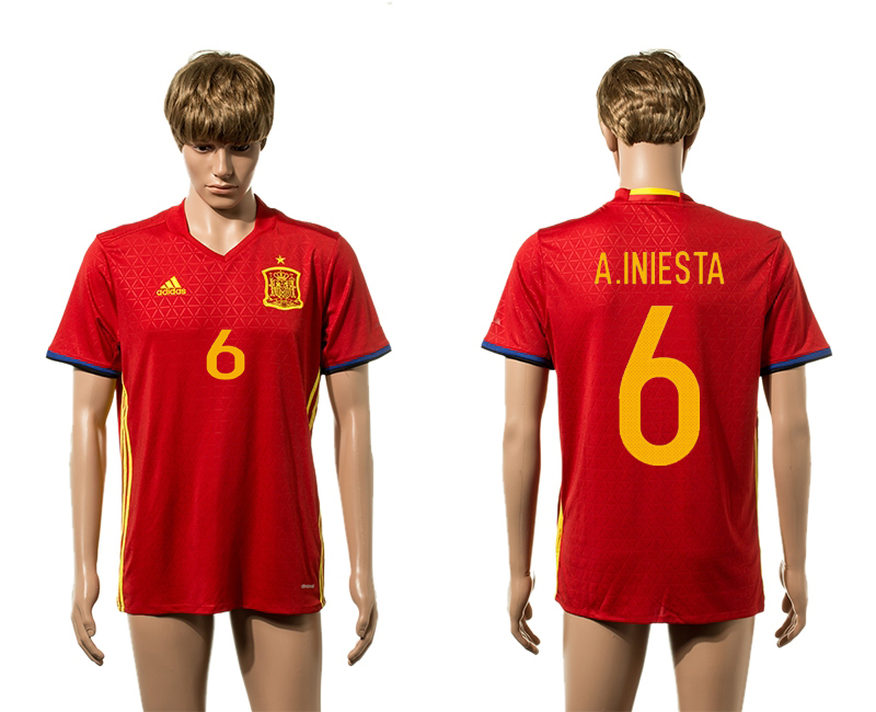 European Cup 2016 Spain home 6 A.Iniesta red AAA+ soccer jerseys