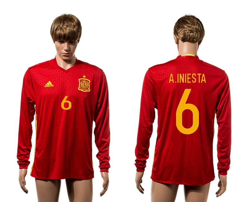 European Cup 2016 Spain home 6 A.Iniesta red long sleeve AAA soccer jerseys