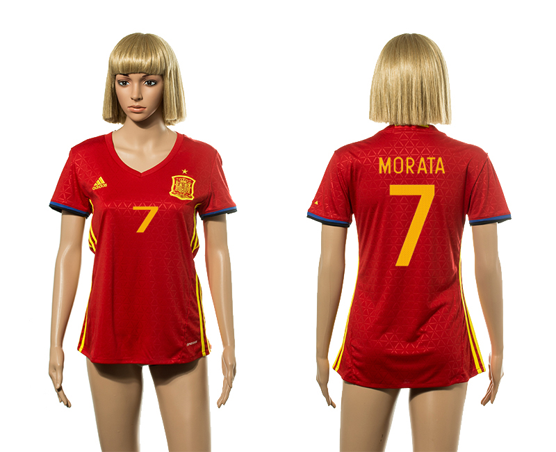 European Cup 2016 Spain home 7 Morata red Women soccer jerseys
