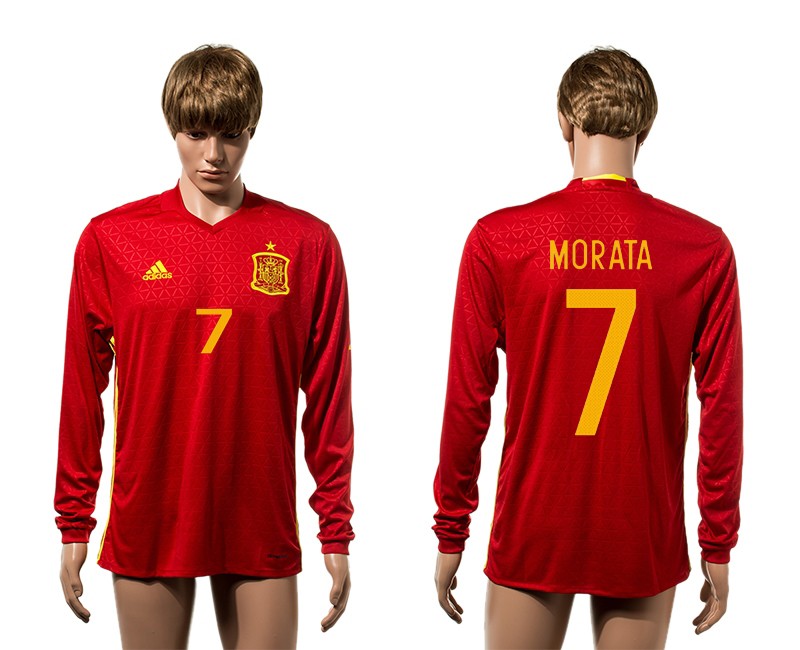 European Cup 2016 Spain home 7 Morata red long sleeve AAA+ soccer jerseys