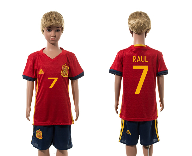 European Cup 2016 Spain home 7 Raul red kids soccer jerseys