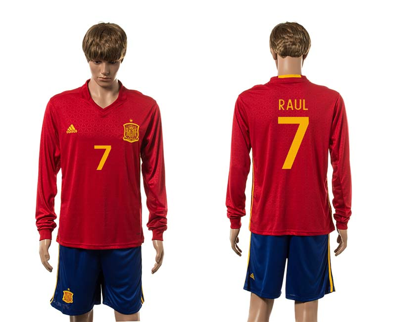 European Cup 2016 Spain home 7 Raul red long sleeve soccer jerseys