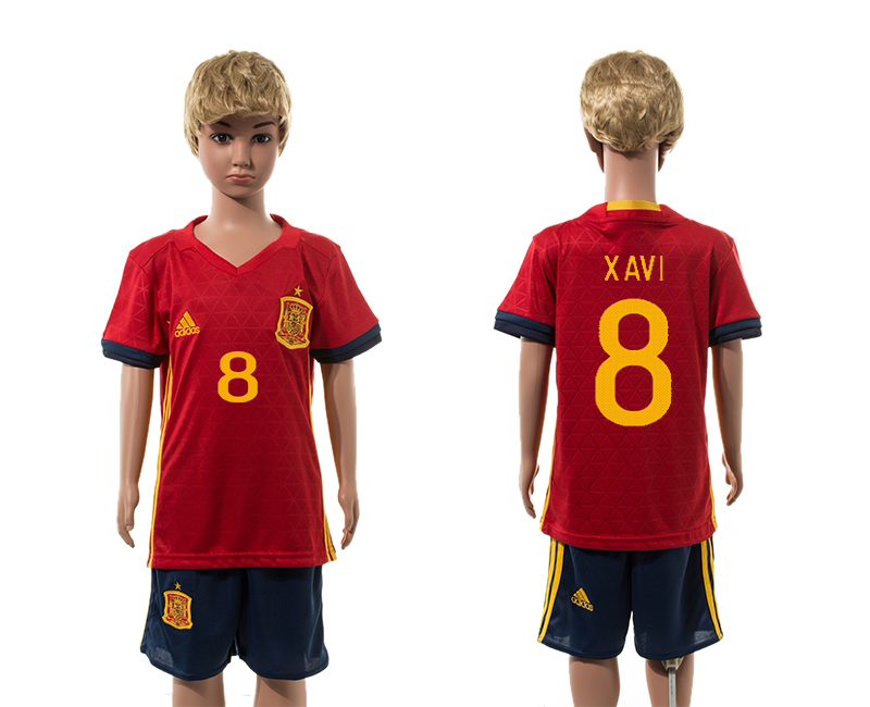 European Cup 2016 Spain home 8 Xavi red kids soccer jerseys