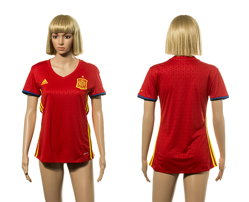European Cup 2016 Spain home Blank red Women soccer jerseys