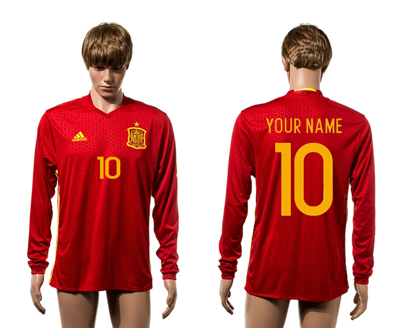 European Cup 2016 Spain home long sleeve AAA+ soccer jerseys