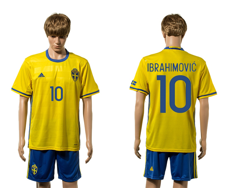 European Cup 2016 Sweden home 10 Ibrahimovic yellow soccer jerseys