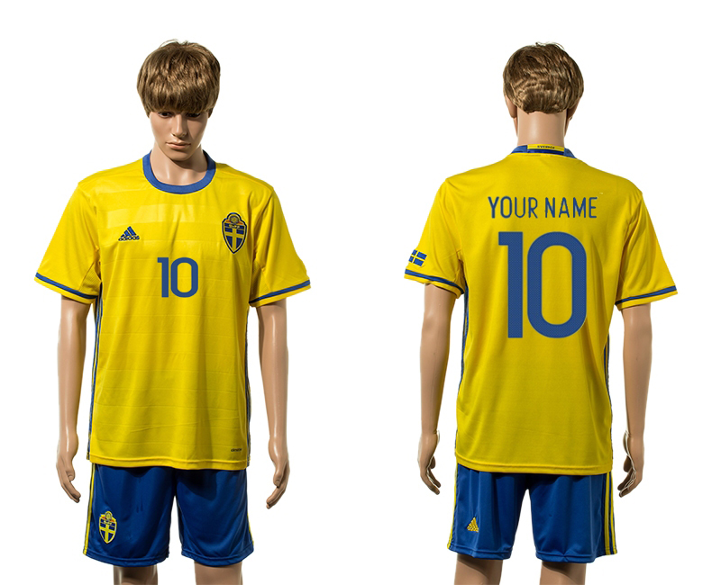 European Cup 2016 Sweden home 10 customized yellow soccer jerseys
