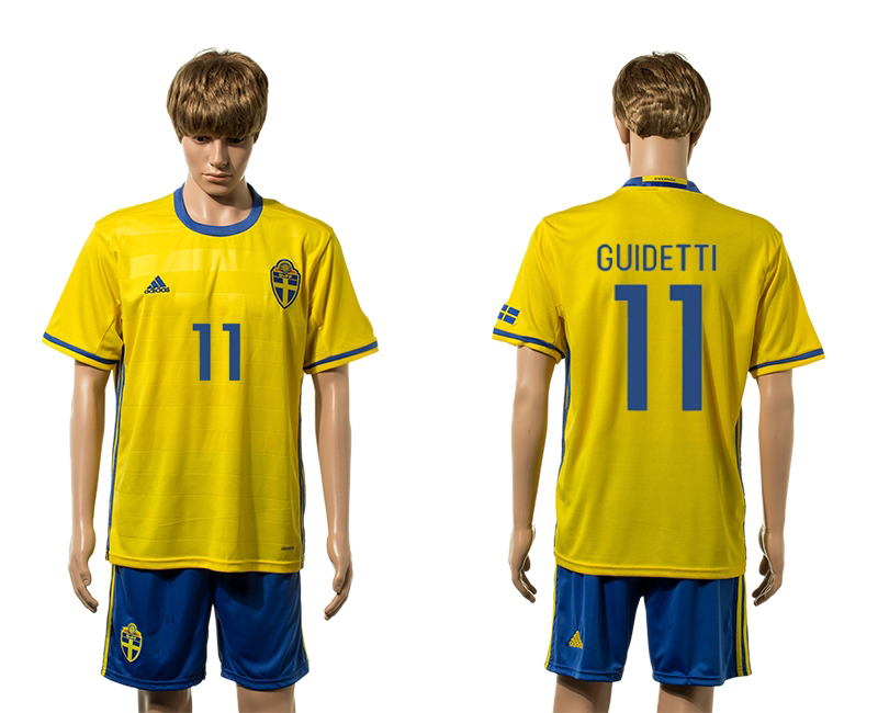 European Cup 2016 Sweden home 11 Guidetti yellow soccer jerseys