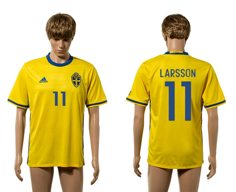 European Cup 2016 Sweden home 11 Larsson yellow AAA+ soccer jerseys