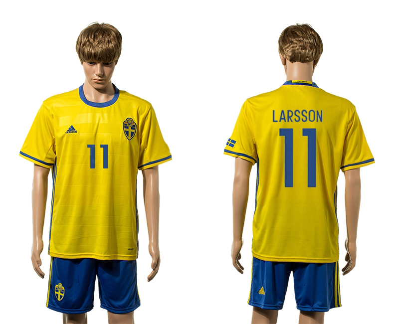 European Cup 2016 Sweden home 11 Larsson yellow soccer jerseys
