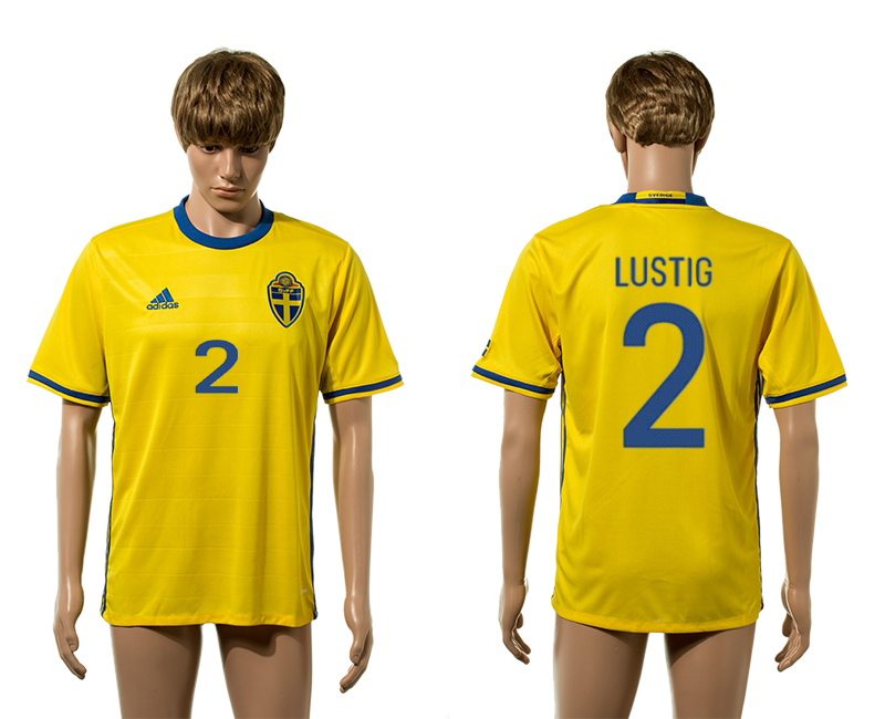 European Cup 2016 Sweden home 2 Lustig yellow AAA+ soccer jerseys