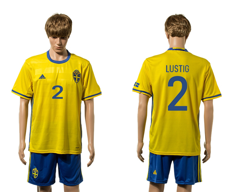 European Cup 2016 Sweden home 2 Lustig yellow soccer jerseys