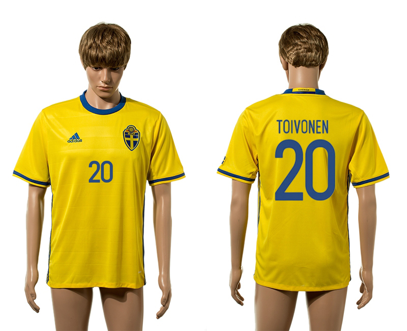 European Cup 2016 Sweden home 20 Toivonen yellow AAA+ soccer jerseys