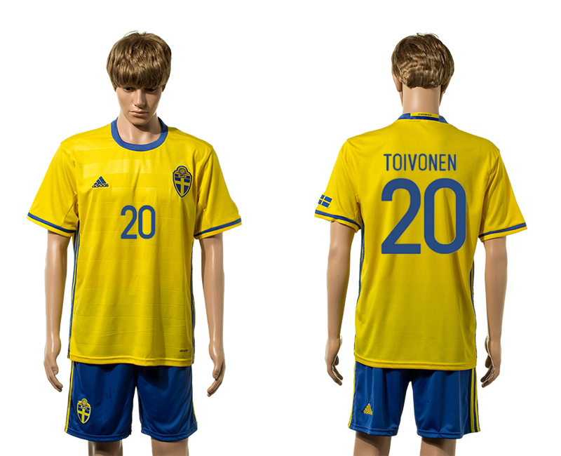 European Cup 2016 Sweden home 20 Toivonen yellow soccer jerseys