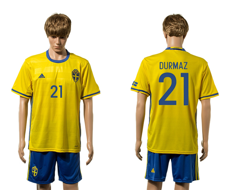 European Cup 2016 Sweden home 21 Durmaz yellow soccer jerseys