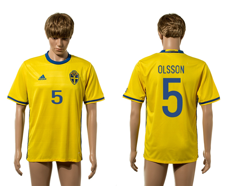European Cup 2016 Sweden home 5 Olsson yellow AAA+ soccer jerseys