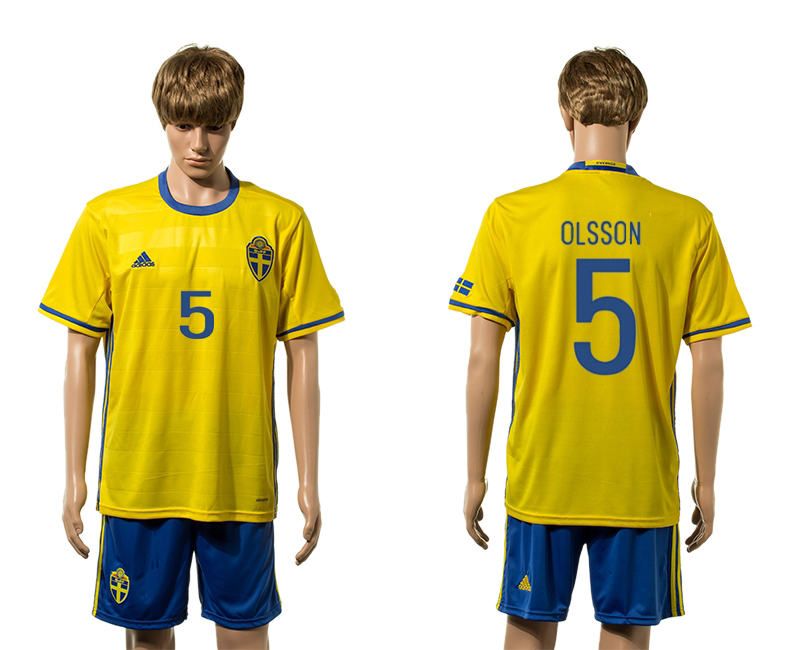 European Cup 2016 Sweden home 5 Olsson yellow soccer jerseys