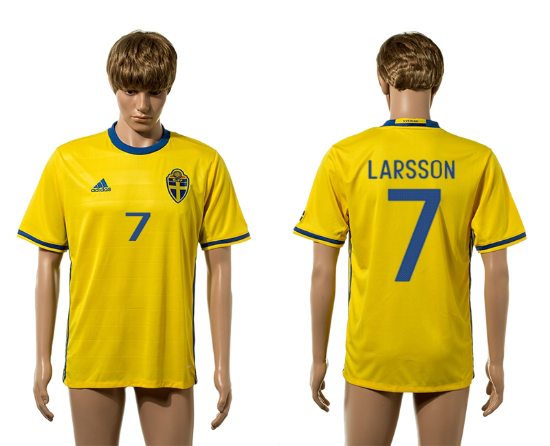 European Cup 2016 Sweden home 7 Larsson yellow AAA+ soccer jerseys