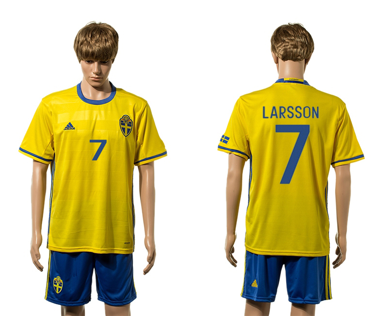 European Cup 2016 Sweden home 7 Larsson yellow soccer jerseys
