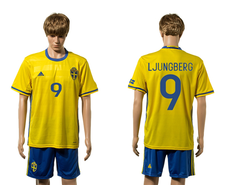 European Cup 2016 Sweden home 9 Ljungberg yellow soccer jerseys