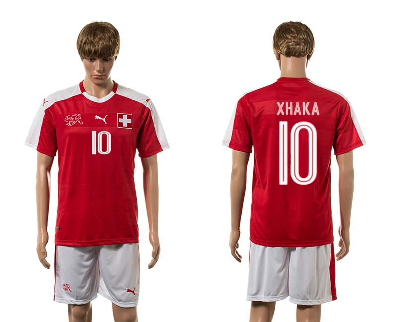 European Cup 2016 Switzerland home 10 Xhaka red soccer jerseys