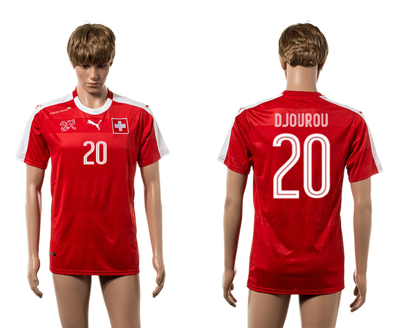 European Cup 2016 Switzerland home 20 Djourou red AAA+ soccer jerseys