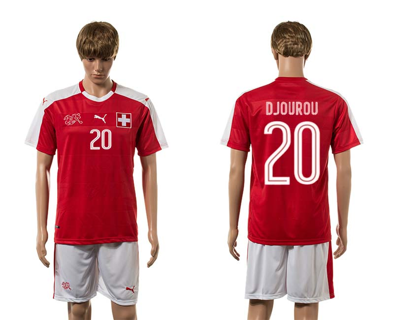 European Cup 2016 Switzerland home 20 Djourou red soccer jerseys