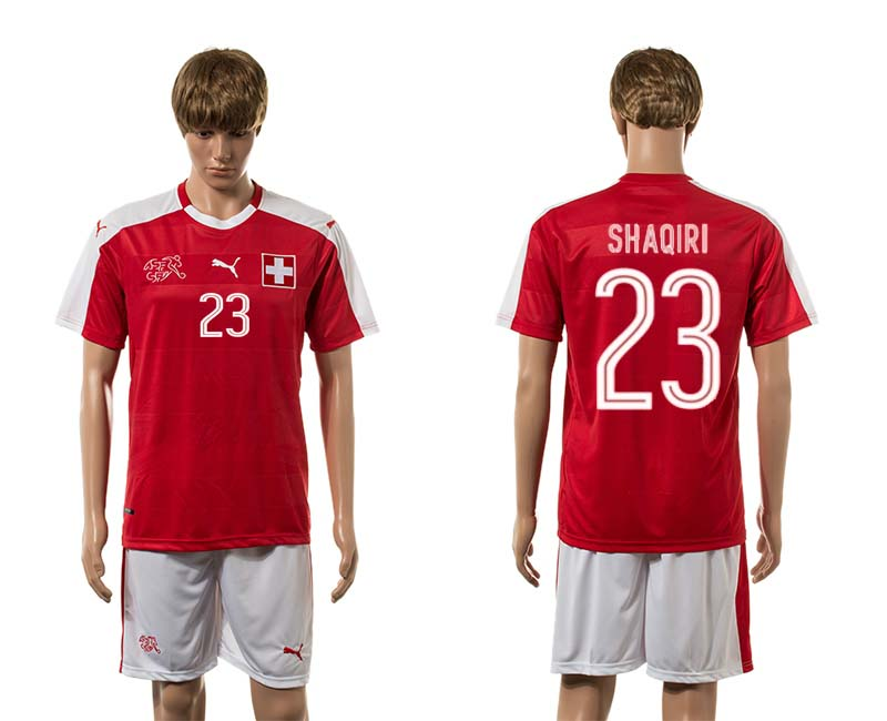 European Cup 2016 Switzerland home 23 Shaqiri red soccer jerseys