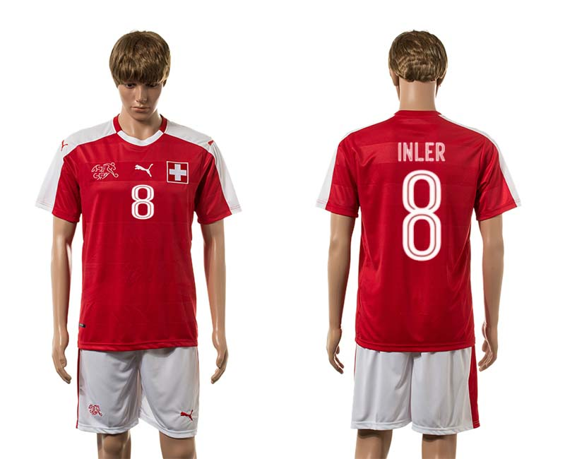 European Cup 2016 Switzerland home 8 Inler red soccer jerseys