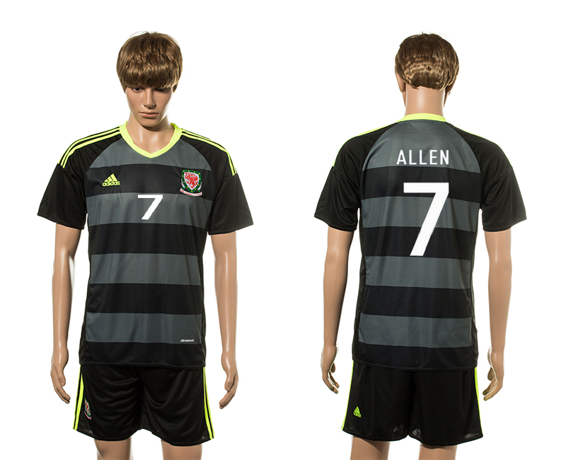 European Cup 2016 Welsh Away 7 Allen soccer jerseys