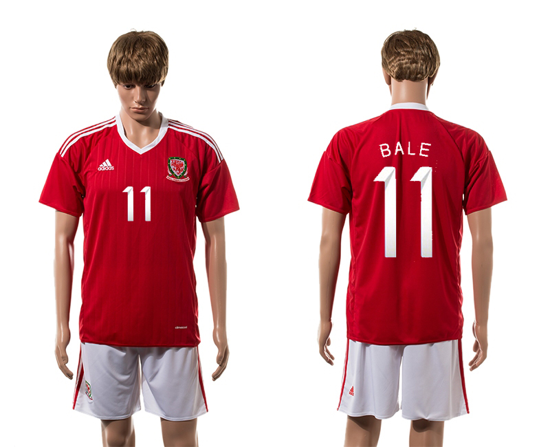 European Cup 2016 Welsh home 11 Bale red soccer jerseys