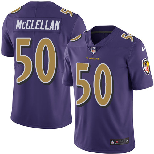 2016 Nike Baltimore Ravens 50 Albert McClellan Purple Mens Stitched NFL Limited Rush Jersey