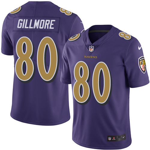 2016 Nike Baltimore Ravens 80 Crockett Gillmore Purple Mens Stitched NFL Limited Rush Jersey