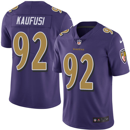 2016 Nike Baltimore Ravens 92 Bronson Kaufusi Purple Mens Stitched NFL Limited Rush Jersey