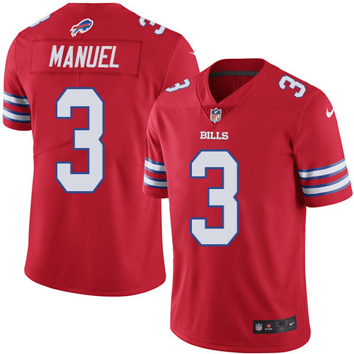 2016 Nike Buffalo Bills 3 E. J. Manuel Red Mens Stitched NFL Limited Rush Jersey